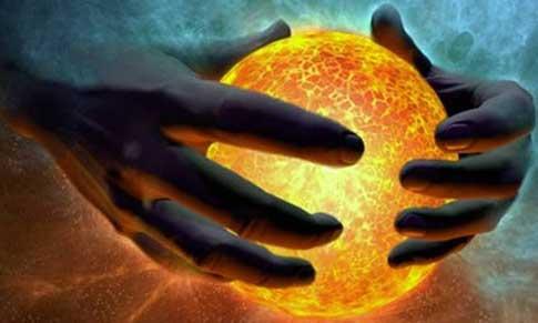 handen en bal met vuur